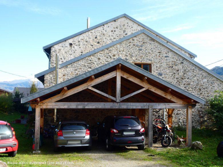 Préau - Vue de face avec alignement des toitures